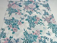 Stoff Baumwolle Popeline Blusenstoff Kleiderstoff Blumen petrol blau rosa weiß