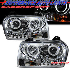 2005-2009 CHRYSLER 300 DUAL CCFL HALO PROJECTOR HEADLIGHTS CHROME w/ LED PAIR