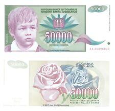 "JUGOSLAVIA 50000 Dinara 1992 P-117 1st prefisso ""AA"" BANCONOTE UNC"