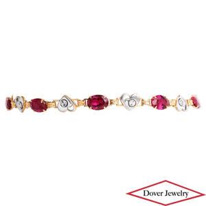 Estate Diamond 4.41ct Sythetic Ruby 10K Two-Tone Gold Heart Link Bracelet NR