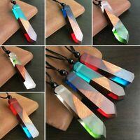 Mujeres / hombres Collar Cadena de cuerda Colgante de Resina Madera Colored