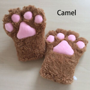 1PC Thick Mittens Cat Paw Gloves Bears Cartoon Cartoons Plush Cosplay