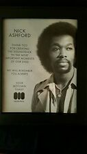 Nick Ashford Rare Original Motown Memorial Promo Poster Ad Framed!