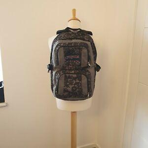 Jansport Merit Grey Floral Flower Lace Design Backpack Rucksack Bag