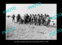 OLD POSTCARD SIZE PHOTO AUSTRALIAN BOER WAR TROOPS WITH PRISONERS c1900
