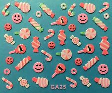 Nail Art 3D Decal Stickers Candy Lolly Pop Smiley Faces Candy Cane GA25
