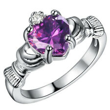 Women Silver purple Sapphire Crown Wedding Engagement Claddagh Ring Size 9