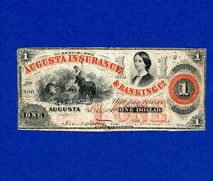 1861 $1 Augusta Insurance & Banking Co SIGNED NICE RARE CIVIL WAR NOTE SM TEAR