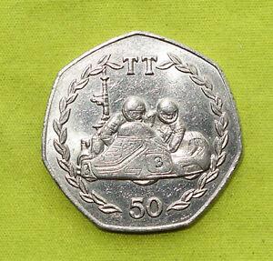 1984 ISLE OF MAN TT Manx 50p coin - Mick Bodice - AA Die