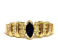 14k yellow gold .09ct diamond sapphire ring 3.4g womens ladies estate vintage