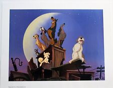 """Disney Art Print Lithograph 11x14"""" Lady and Tramp 2 Scamps Adventure Dog Crew"""