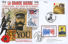 """Maxi FDC UNITED KINGDOM-FRANCE """"100 years Great War - Recruitment Campaign"""" 2014"""
