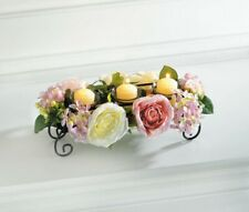 Blooming Floral Candle Holder Centerpiece w/ Pink & White Flowers 3 Glass Cups