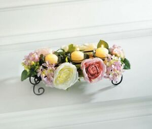 4 Blooming Floral Candle Holder Centerpieces Pink & White Flowers 3 Glass Cups