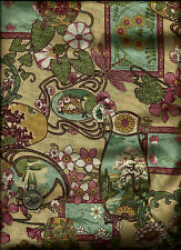 """Potpourri"" Floral Cameo Print/gold multi on tan Fabric by Artistic Expressions"