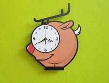 Cute Little Reindeer Cartoon Wall Clock