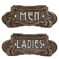 Homme/Femme Toilette Art Nouveau signe de porte en fonte Plaque Café Shop
