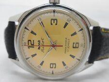 vintage hmt pilot hand winding mens steel golden  dial wrist watch run order