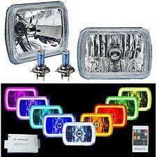 "7x6"" RF RGB COB Color Change White Red Blue Green LED Halo Angel Eye Headlights"