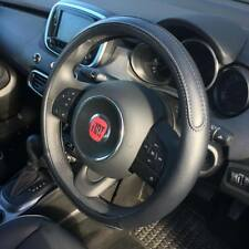 Black Steering Wheel Cover Soft Grip Leather Look Design Sleeve Glove Fiat 500X