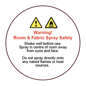 Room and Fabric Spray Safety warning and usage instruction labels