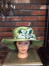 Church Kentucky Derby Carriage Tea Party Wedding Wide Brim Woman's Hat Green