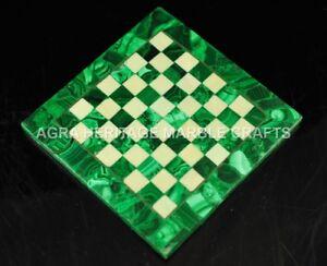 "15"" Malachite Random Inlaid Marble Coffee Chess Top Table Furniture Decor H4671A"