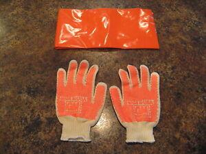 Vintage GM General Motors Work Gloves Mat Orange NOS Factory Tire Change Kit