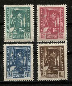 YUGOSLAVIA 1946, FIRST P.T.T. CONGRESS, RADIO, TELEGRAPH, Scott B134-B137, MINT