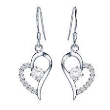 925 Sterling Silver Plated Heart Cubic Zirconia Crystal Ear Dangle Drop Earrings