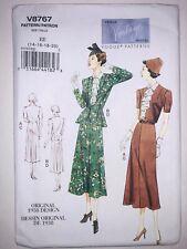 VOGUE 1930s Vintage Model Sew Pattern 8767 Peplum Jacket + Dress 14-20