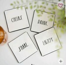 "Rae Dunn 4 Piece Coasters ""Cheers"" ""Drink"" ""Share"" ""Enjoy"" White New"