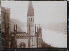 Allemagne, Château près d'une rivière, ca.1900, Vintage citrate print Vinta