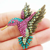 Beautiful Multi-color Hummingbird Rhinestone Crystal Bird Brooch Pin Gold Tone