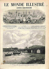 Carnevale di Roma Romano Italia Ponte Milvio Mollo ANTIQUE OLD PRINT 1874