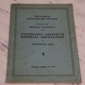 1930 Cleveland Amateur Baseball Program Cleveland NAPS SPIDERS Brookside Stadium