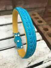 Handmade Braided Real Leather Soft Padded Dog Collar Puppy Collar Blue/Yellow