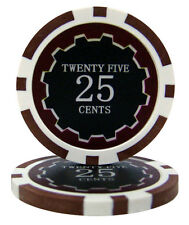 100 Brown 25¢ Cent Eclipse 14g Clay Casino Poker Chips New - Buy 3, Get 1 Free