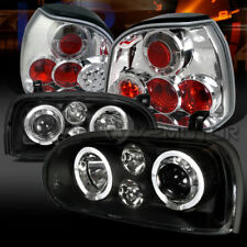 Fit 93-98 VW Golf MK3 Black Projector Headlights Fog DRL+Clear LED Tail Lamps