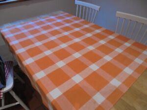 Vintage seersucker cotton tablecloth. Checked pattern. Orange and white.