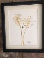 Allium Head With Bumble Bee Original Watercolour Painting, Original Signed Art