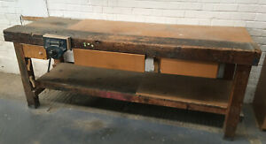 Wooden Work Bench with Record 52 1/2 E Vice and 3 Drawers