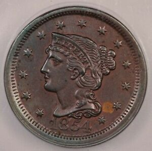 1854 Braided Hair Large Cent ICG MS62 BN