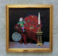 Vintage Chinese Still Life Oil Painting Doll Elephant Charger Asian Oriental