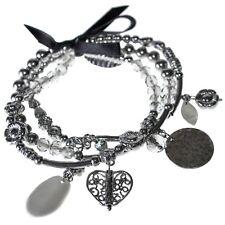 Silver Charm Bracelet Heart Flower Bead Statement Design New