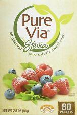 PureVia Stevia Zero Calorie Sweetener 80-Count Packets ~ 2.8 oz.