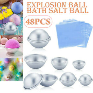 48x Aluminium Bath Bomb DIY Soap Mold Sphere Fizzy Craft Cake Candle Tart Moulds
