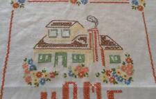 "Vintage Betsy Ross Linen Embroidered Sampler ""Home Sweet Home"""