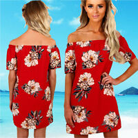 Fashion Women Summer Chiffon Floral Short Sleeve Off Shoulder Casual Mini Dress