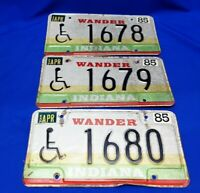 Lot Of 3) Vintage 1985 Wander Indiana License Plates Handicap Sequential Hoosier